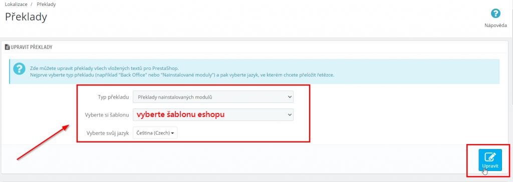 prestashop 1.6 Cofsi košík - návod na změnu textu na tlačítku objednat - sekce Upravit překlady
