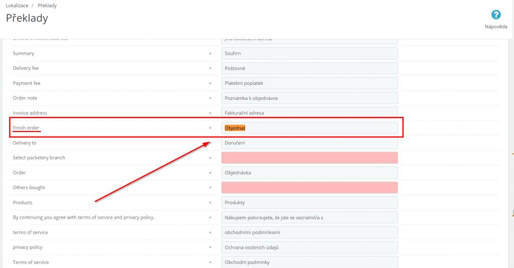 prestashop 1.6 Cofsi košík - návod na změnu textu na tlačítku objednat - úprava textu