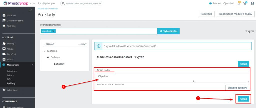 prestashop 1.7 Cofis košík - návod na změnu textu na tlačítku objednat - úprava textu tlačítka
