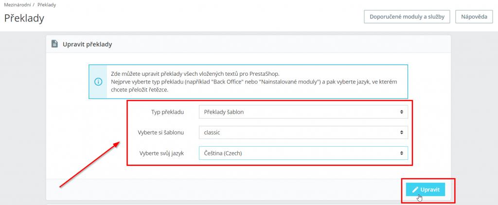 prestashop 1.7 návod na změnu textu na tlačítku objednat - sekce Upravit překlady