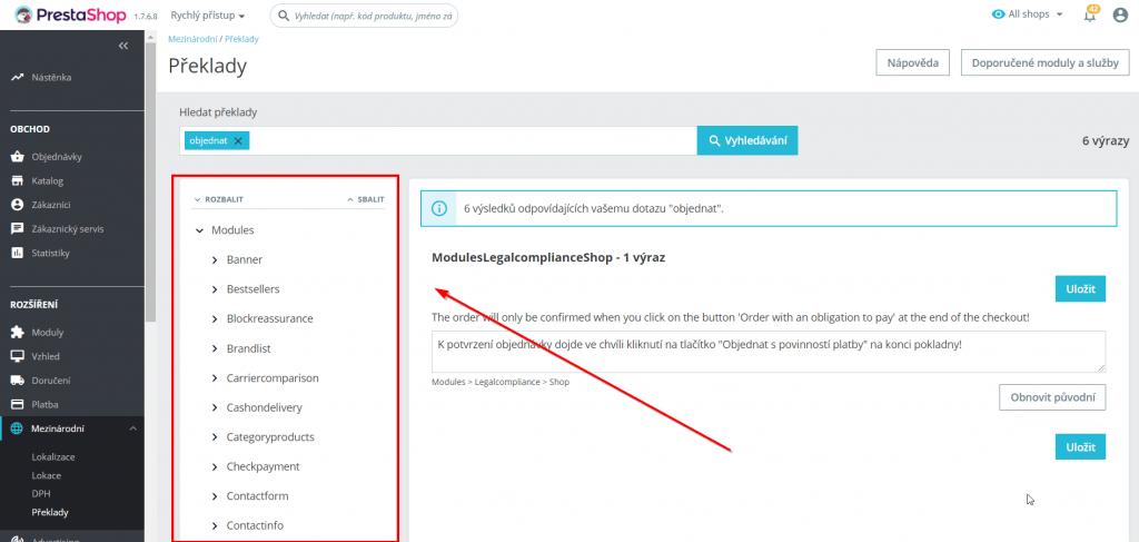 prestashop 1.7 návod na změnu textu na tlačítku objednat - vyhledání překladu