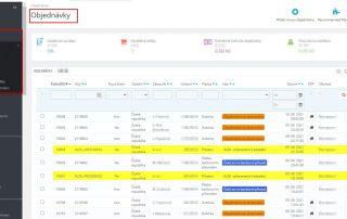 Ukázka modulu Alza API dropshipment - přehled objednávek