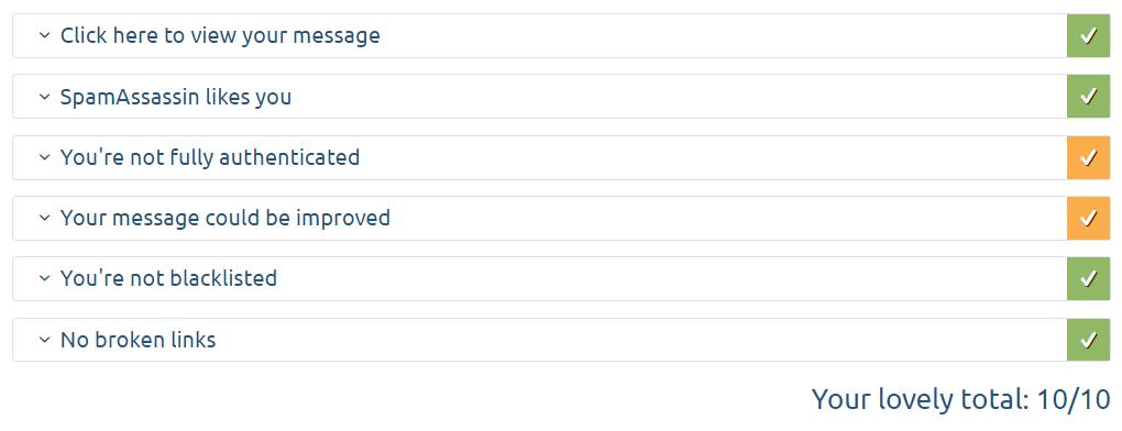 Kritéria hodnocení v rámci spam skóre